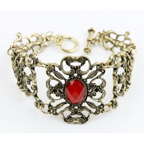 Vintage Trendy Rhinestone Flower Toggle Bracelet