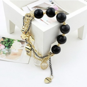 Fashion Cool Bowknot Heart design Multi Pendant Beaded Bracelet