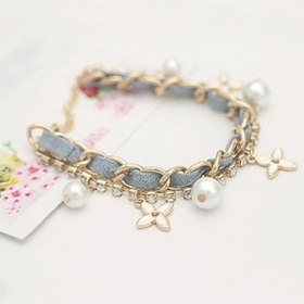 Fashion Two Layers Beaded Link Bracelet