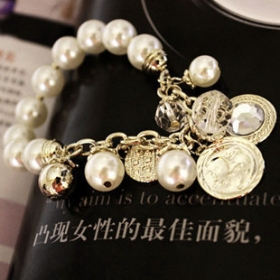 Fashion Moon Star Beaded Charm Bracelet
