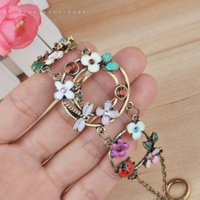 Trendy Vintage Dragonfly ladybug Beetle Flower Rhinestone Toggle Bracelet
