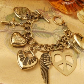 Ancient Heart Wing Cross Anti-war Logo Pendant Bangle Bracelet