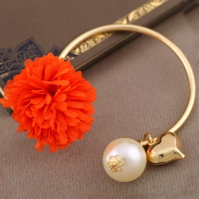 Fashion Flwer Heart Cuff Bangle Bracelet With Pearl
