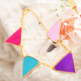 Vintage Colourful Triangle Charm Bracelets