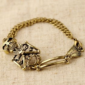 Vintage Cute Skull Gold Plated Alloy Charm Bracelet