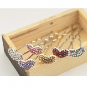 Lovely Heart Shape Style Rhinestone Hair Pins
