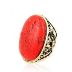 Old Fashioned Red Turquoise Cocktail Ring