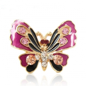 Luxury Enamel Purple Butterfly Animal Ring