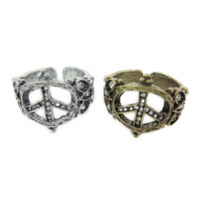 Anti-war Rhinestone Antique Wide Band Ring