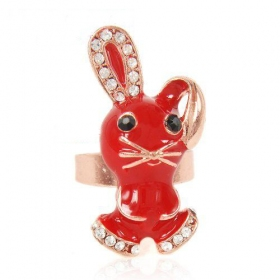 Fun Fashion Red Rabbit Cocktail Ring