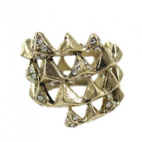 Hollowed Vintage Band Rings With Rhinestone