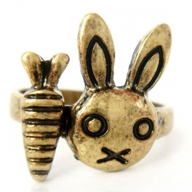 Vintage Bronze Rabbit Head Band Rings