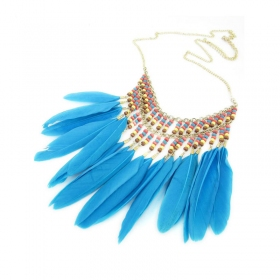 Bold Fashion Blue feather Beads Chain Necklace