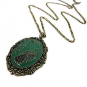 Antique Peacock Shape Pendant Long Chain Necklace