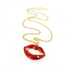 Sexy Red Lips Chain Necklace for Women