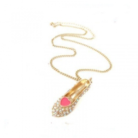 Unique Pave Rhinestone Bling High Heal with Heart Pendant Chain Necklace