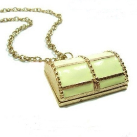 Fashion Golden Safety Box Chain Necklace For Ladies