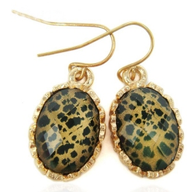 Fashion Leopard Grain Drop Earrings With Rhinestone