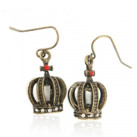 Fashion Bronze Crown Drop Earrings With Rhinestone