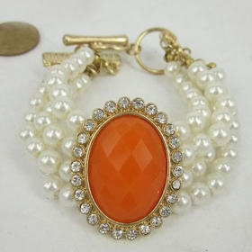 Vintage Queen Beaded Bracelets With Pearl For Ladies