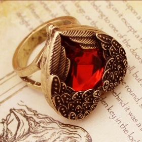 Punk Large Red Rhinestone Heart Wing Vintage Ring