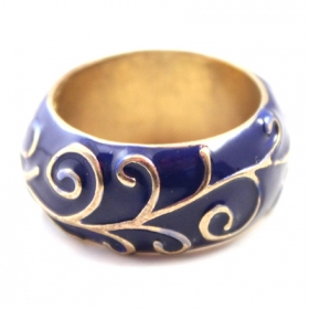 National Ceramic Blue Wide Band Rings