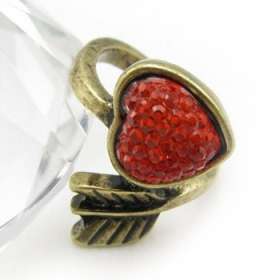 Red Heart Antique Band Ring