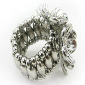 Adjustable Rhinestone Flowers Cocktail Ring