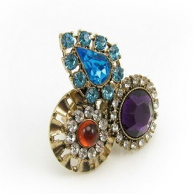 Bold Fashioned Multicolor Rhinestone Cocktail Ring