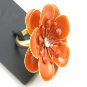 Personalized Large Orange Flower Ring
