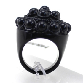 Chic Black Beads Ring for Women