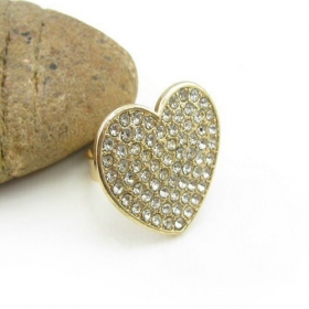 Pave Rhinestone Classical Heart Shape Cocktail Ring