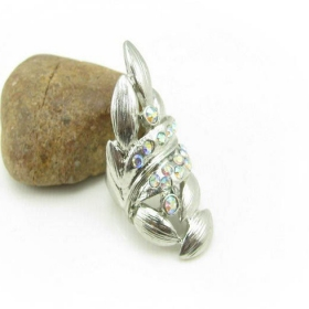 Chic Rhinestone Leaves Wide Band Ring