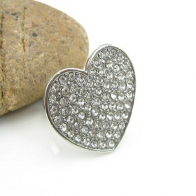 Classical Pave Rhinestone Heart Big Cocktail Ring