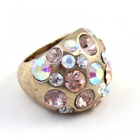 Vintagel Golden Diamond Rhinestone Cocktail Ring