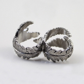 Punk Leaf Silver Plated Double Rings