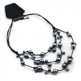 Gunmetal Antificial Pearl Bib Choker Necklace