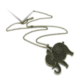 Vintage Long Elephant Pendant Chain Necklace