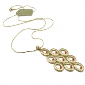 Long Chain Golden Red Rhinestone Pendant Chain Necklace