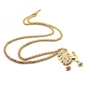Lovely Puppy Pendant Golden Chain Necklace