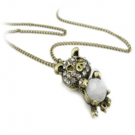 Lovely Rhinestone Pig Long Chain Necklace