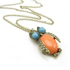 Antique Multicolor Owl Chic Chain Necklace