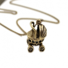 Vintage Unique Pram Pendant Long Chain Necklace