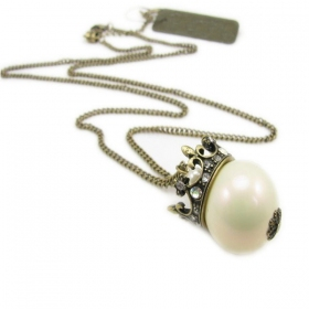 Vintage Crown Pearl Long Pendant Chain Necklaces