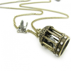 Vintage Birdcage Pendant Chain Necklaces