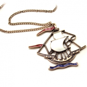 Vintage Sailing Boat Pendant Chain Long Necklaces