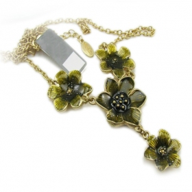 Vintage Bronze Flowers Pendant Chain Necklaces