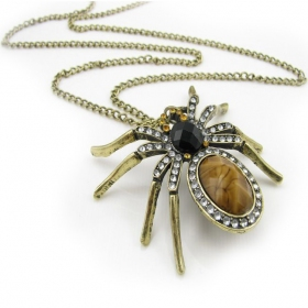 Vintage Yellow Spider Pendant Chain Long Necklaces