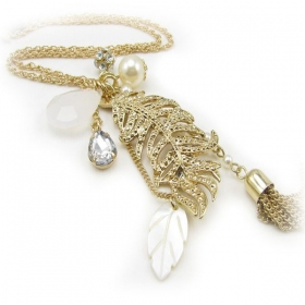 Simple Fashion Golden Leaf Pendant Chain Long Necklaces