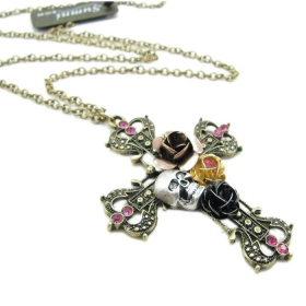 Skull Flower Cross Pendant Chain Long Necklaces